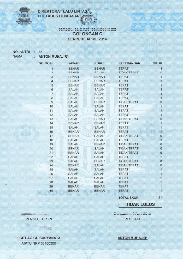 Gagal Ujian SIM C